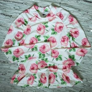 Janie & Jack floral long sleeve peplum rash guard
